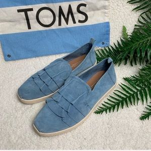 TOMS blue suede ruffle flats : 7.5